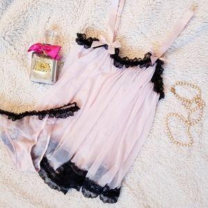 Victoria's Secret Sheer Pink Babydoll